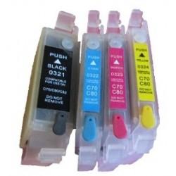 Lot de 4 Cartouches Rechargeables compatible Epson T0321-4