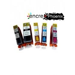 Lot de 5 Cartouches PGI520/CLI521 Rechargeables compatible Canon PGI-520/CLI-521