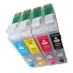 Lot de 4 Cartouches T1811-4 Rechargeables compatible Epson