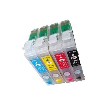 Lot de 4 Cartouches Rechargeables compatible Epson T1811-4 pour la série XP