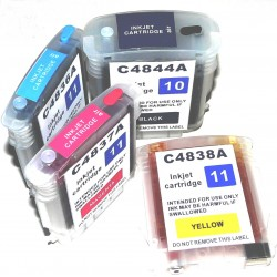4 Cartouches Rechargeables compatible HP 10/11